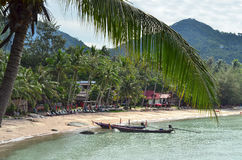 Tropical paradise - longtail boats nearby sandy beach and closeu. P of a palm leaf Stock Image
