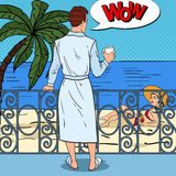 Tropical Paradise. Man with Coffee at the Balcony Looking at Beautiful Woman. Pop Art illustration. Tropical Paradise. Man with Coffee at the Balcony Looking at Stock Images