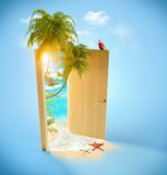 Tropical paradise. Opened door to the tropical paradise. Travel Background Stock Photography