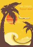 Tropical paradise with palms island and aircraft Stock Images