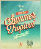 Tropical paradise poster. Royalty Free Stock Photo