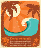 Tropical paradise retro poster Royalty Free Stock Image