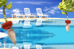 Tropical paradise with swimming pool Royalty Free Stock Photos