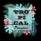 Tropical paradise. T-shirt or poster design print with palm leaves and flowers. Stock Photo