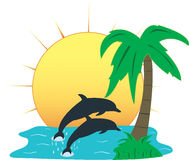 Tropical Paradise, Vector Illustration Stock Photography