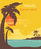 Tropical paradise.Vector palms island poster Stock Photography