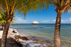 Tropical Paradise View. Looking through a frame of two palm trees out into the Caribbean ocean to a thatch covered shelter at the end of a dock on the blue water Royalty Free Stock Photo