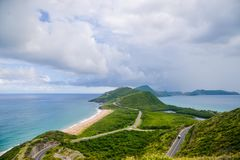 Tropical paradise, the view of two oceans meeting in St.Kitts. stock photo