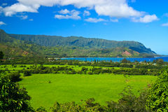 Tropical paradise vista, Hanalei Bay, Kauai Royalty Free Stock Images