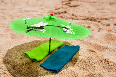 Tropical parasol at the beach Stock Images