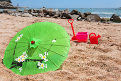 Tropical parasol at the beach Royalty Free Stock Photography