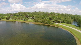 Tropical park in Florida aerial view. Tropical park and lake in Florida  aerial view stock video