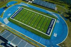 Tropical Park Miami sports fields running track football field. MIAMI, FL, USA - April 19, 2018: Aerial drone image of Miami Tropical Park sports field stock images