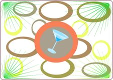 Tropical party. Tropical illustration with a Martini glass Royalty Free Stock Image