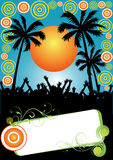 Tropical party and placard Royalty Free Stock Photos