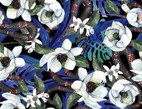 Seamless wallpaper with asian flowers and snakes