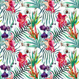 Tropical pattern. Beautiful vector pattern with watercolor tropical flowers Royalty Free Stock Images