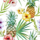 Tropical pattern. Beautiful watercolor vector tropical pattern with pineapples and hibiscus Stock Image