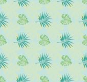 Tropical pattern with blue background and watercolor painted leaves. Tropical pattern with blue background and watercolor painted monstera leaves and palm Vector Illustration