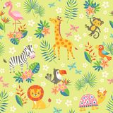 Tropical pattern with cute animals stock illustration