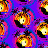 Tropical pattern 34. Tropical pattern depicting pink and purple palm trees with  with yellow highlights reflections on a turquoise background Royalty Free Stock Images