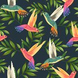 Seamless tropical pattern with hummingbirds and palm leaves stock illustration