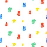 Tropical pattern with fruits and leafs Royalty Free Stock Images