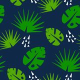 Tropical pattern with graphical elements and palm leaves on dark background. Ornament for textile and wrapping. Vector Royalty Free Stock Images