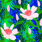Tropical pattern with jungle flowers Royalty Free Stock Photo