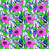 Tropical pattern with jungle flowers Stock Photography