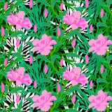 Tropical pattern with jungle flowers Stock Images