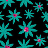 Tropical  Pattern made by Plants and Pink Fruit. Tropical Pattern made by Plants and pink fruit  on dark Background Stock Photo