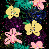 Tropical pattern with orchids vector illustration