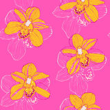 Tropical pattern with orchids. Vector seamless pattern with yellow orchids on pink background Royalty Free Stock Image