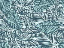 Tropical Pattern, Palm Leaves Seamless Vector Floral Background. Exotic Plant On Stripes Print Illustration. Summer Nature Jungle Royalty Free Stock Photo