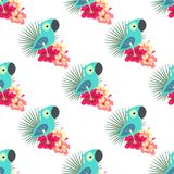 Tropical pattern with parrot. Pink and white hibiscus flowers with palm leaves and parrot on white background, hawaiian tropical natural floral seamless pattern Royalty Free Stock Photo