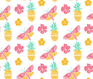 Tropical pattern with pineapple, flowers and butterfly. Pink, yellow and mint colors, diagonal direction. Summer textile Stock Photos
