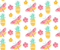 Tropical pattern with pineapple, flowers and butterfly. Pink, yellow and mint colors, diagonal direction. Summer textile Royalty Free Stock Photography