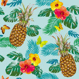 Tropical pattern with pineapples Stock Images