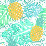 Tropical pattern with pineapples. Vector seamless pattern with pineapples and palm leaves, tropical summer pattern royalty free illustration