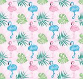 Tropical pattern with pink background and watercolor painted flamingo and leaves. Beautiful tropical pattern with pink background and watercolor painted pink and Royalty Free Illustration