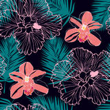 Tropical pattern with pink orchids royalty free illustration