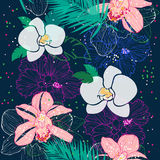 Tropical pattern with pink and white orchids Stock Image