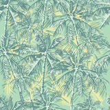 Tropical pattern. Seamless vector tropical pattern depicting palm trees in vintage pastel colors Royalty Free Stock Photos