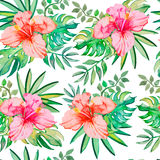 Tropical pattern. Tropical flowers and leaves for Stock Photography