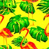 Watercolor Seamless Pattern. Hand Painted Illustration of Tropical Leaves and Flowers. Tropic Summer Motif with Tropical Pattern. Tropical Pattern. Watercolor Stock Photo