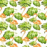 Watercolor Seamless Pattern. Hand Painted Illustration of Tropical Leaves and Flowers. Tropic Summer Motif with Tropical Pattern. Tropical Pattern. Watercolor Stock Images