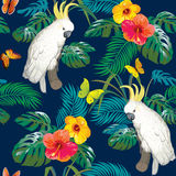 Tropical pattern with white parrot Stock Images