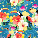 Tropical Pattern With Birds Stock Photography