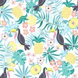 Tropical Pattern With Toucans And Fruits Stock Image